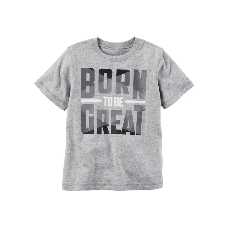 "Toddler Boy Carter's ""Born to be Great"" Graphic Tee, Size: 5T, Light Grey"