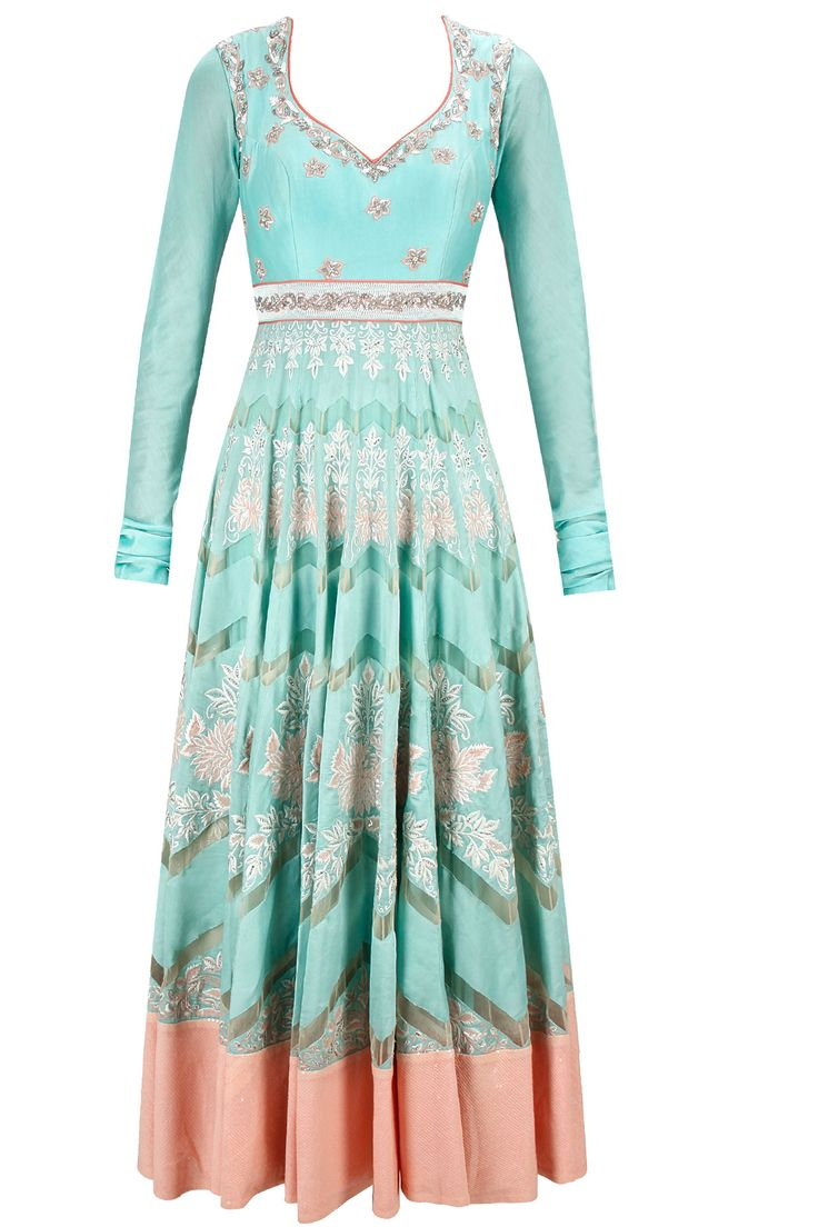 Powder blue and peach floral embroidered anarkali set available only at Pernia's Pop-Up Shop.