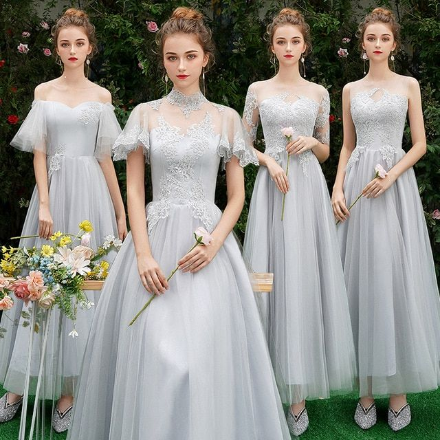 8756f07aa35 Lace Bridesmaid Dresses Long Plus Size for Women A-Line Half Sleeve Vestido  da dama