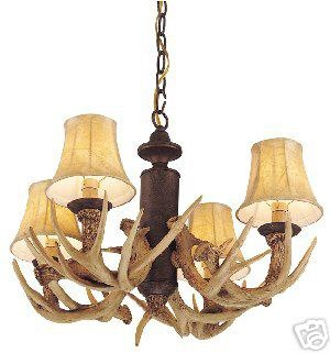 Monte carlo antler chandelier log cabin rustic decor on for Log cabin chandelier