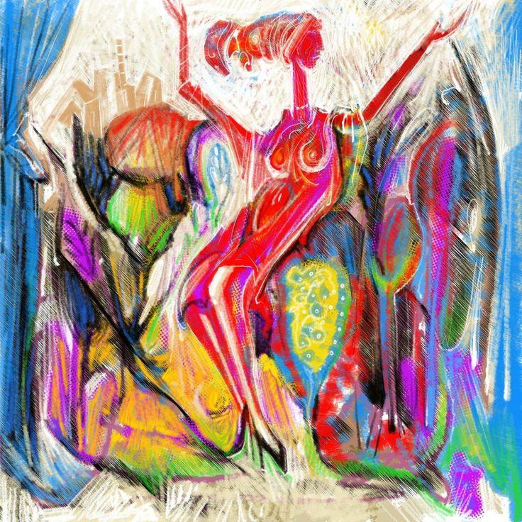 A red Woman. digital Painting. 2017 Two series of Prints. 60x60 cm.  5.Prints. 90x90 cm. 5 prints.
