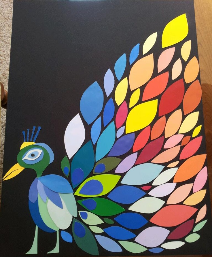 Peacock art made from Lowes paint samples. (I made this)