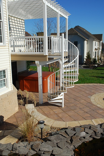 5' Aluminum Spiral Staircase by www.salterspiralstair.com, via Flickr. Eventually I will need a stair coming down from an upper deck. Interested in how spiral stair transitions from the upper deck and to the patio...