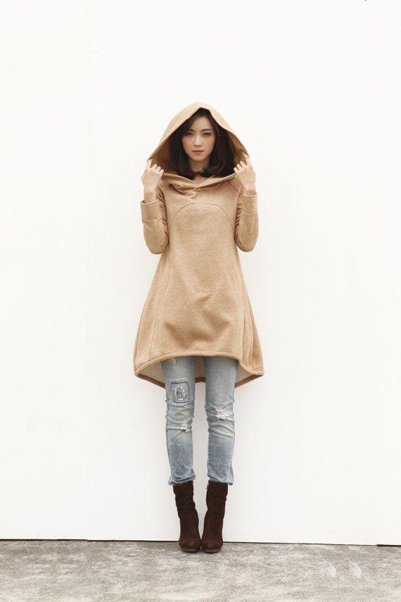 Camel Hoodie Sweatshirt Cotton Fleece Hoodie Dress Top with Big Hood for Autumn and Spring - Custom made - NC449