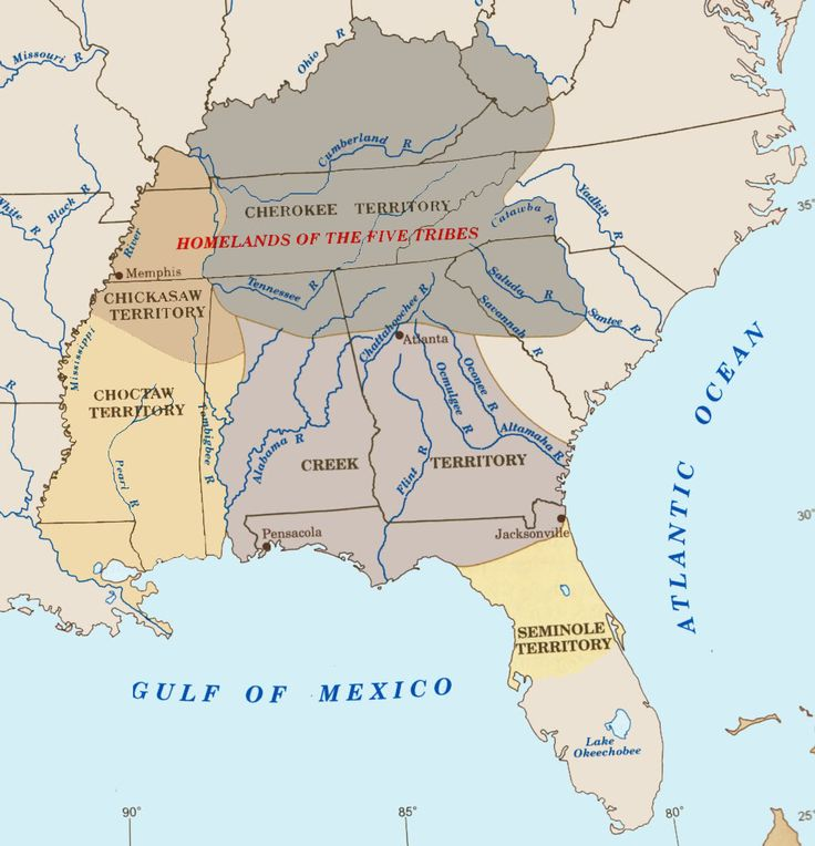 """The Five Civilized Tribes of the Southeast Woodlands: The Cherokee, Creek, Choctaw, Chickasaw, and Seminole. The nations rapidly assimilated white culture, raised stock, operated large farms, traded extensively with whites, adopted Christianity, owned Black slaves, and were educated at mission schools. It was the """"mixed-bloods"""" who readily adapted to white civilization; the """"traditionalists"""" did not. The Indian Removal Act of 1830, and the Treaty of New Echota, 1835, led to the Trail of…"""