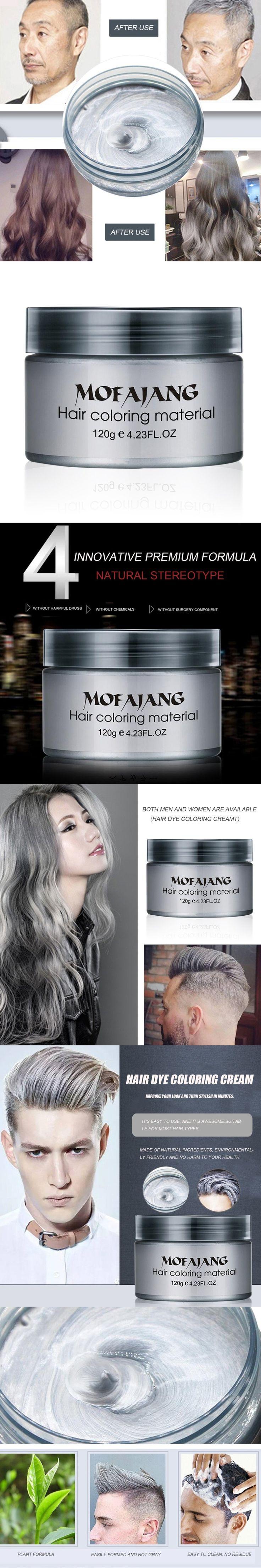 MOFAJANG Salon Hair Styling Pomade Silver Ash Grandma Grey Hair Waxes Temporary Disposable Hair Dye Coloring Mud Cream Unisex