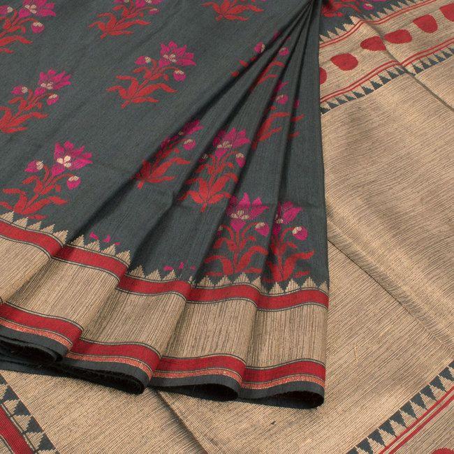 Handwoven Banarasi Kadhwa Tussar Silk Saree With Floral Butis 10020370 - AVISHYA.COM