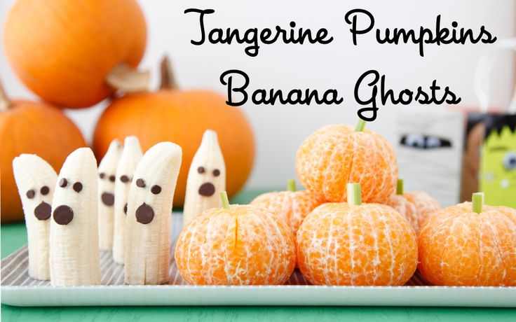 Make these easy and healthy halloween recipes: tangerine pumpkins and banana chocolate ghosts for a special treat! >> Adorable!