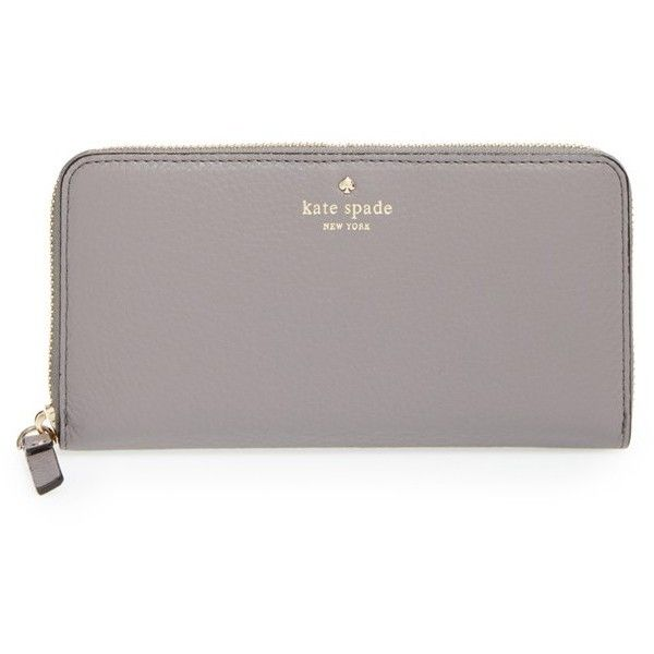 kate spade new york 'cobble hill - lacey' zip around wallet (£130) ❤ liked on Polyvore featuring bags, wallets, purses, clutches, grey, hare grey, genuine leather wallet, kate spade bags, neon wallet and gray leather wallet