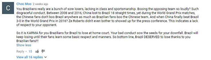One of the comments on Brazilians' booing during China vs Brazil Women's Volleyball Quarterfinals RIO 2016 Olympics