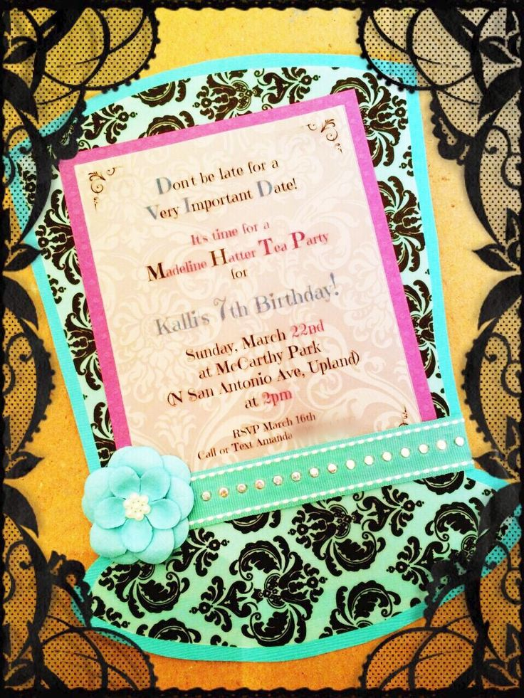 mad hatter teparty invitations pinterest%0A My daughters Ever After High u    s Madeline Hatter themed birthday Tea Party   The invites were all needed to be hand cut