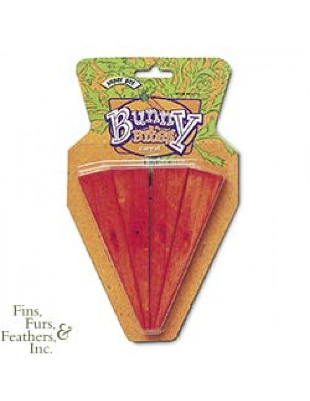 Super Pet Bunny Bites Pre-Drilled Wood Chew Treats for Pet Critters (Carrot, 4 pack)