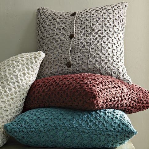 Crochet is cool again. In a crafty textured pattern, our Trellis Knit Pillow Cover cozies up any corner. Mix one or two with more solid, straightlaced pillows to warm up a modern sofa or bed.