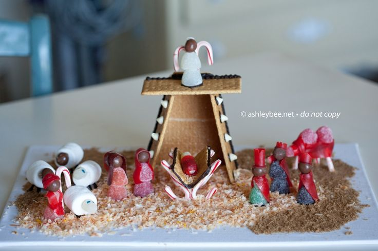 Instead of a Gingerbread House make a Gingerbread Nativity with your kids for Christmas!