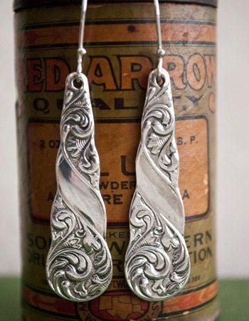 Spoon Earrings Gloria by Silver Spoon Jewelry by silverspoon~~
