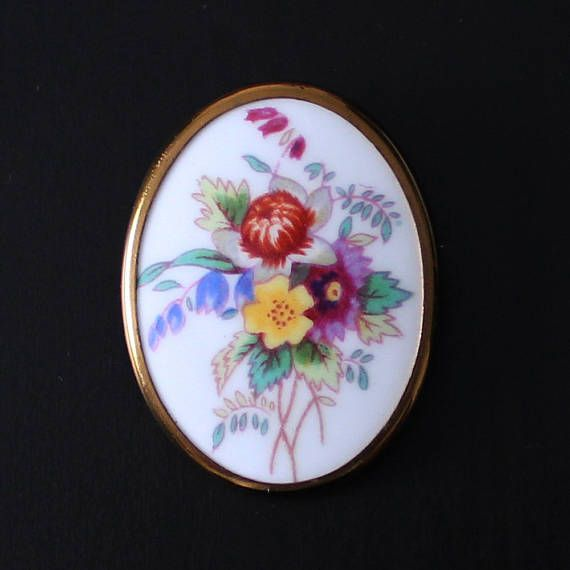 Vintage oval brooch with floral design hand-painted bone