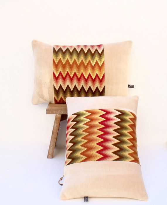 Bargello Needlepoint Art Deco Chevron with Soft Ivory velvet Lumbar Pillow Cushion Coussin Cover