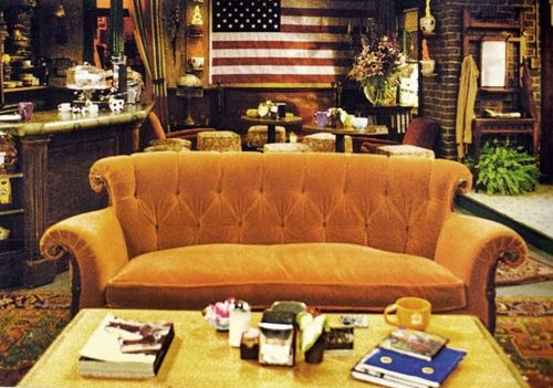 That couch is horrendous but if I could find one just like it, I'd make our living room into Central Perk.