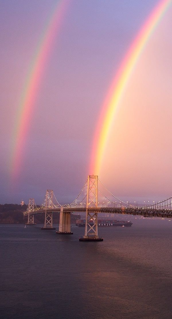what a Gorgeous view ! ! ! ! double rainbow at Bay Bridge - #SanFrancisco, California