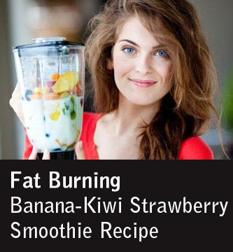 A tall glass of strawberry-colored goodness is just waiting to be created and enjoyed: Fat Burning Banana-Kiwi Strawberry Smoothie Recipe