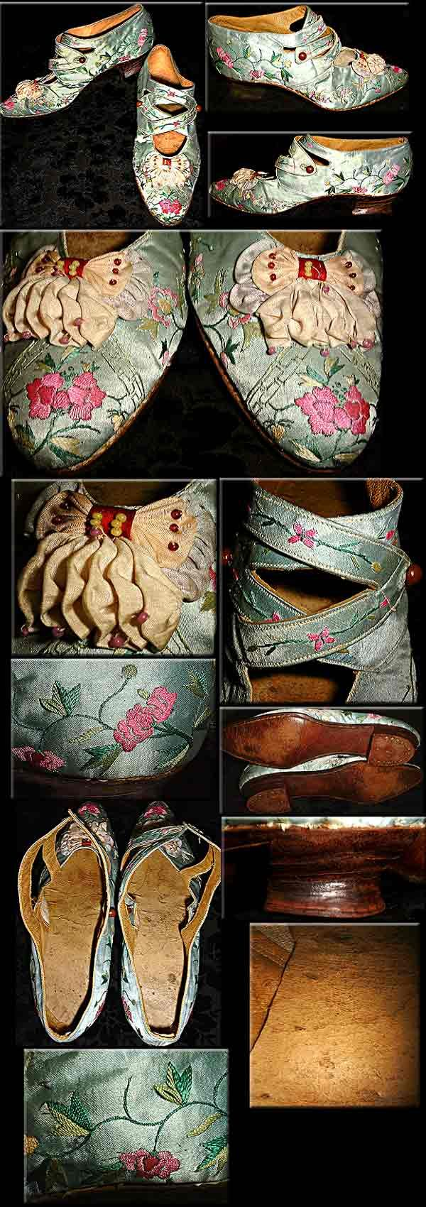 LARGE shoes- fancy leather English EMBROIDERED Silk custom Edwardian Victorian- QUALITY MUSEUM 1895-1914