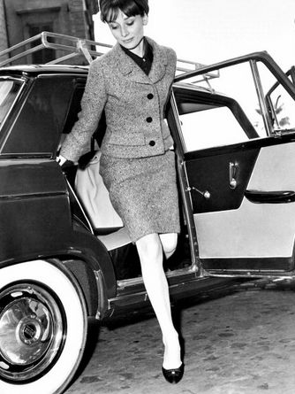 Audrey Hepburn steps out of a car in Rome, March 11, 1964