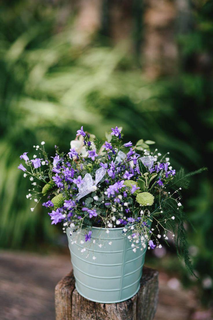 Tin Bucket Pot Purple Flowers Floral Gypsophila Decor Pretty Picturesque Outdoor Castle Wedding https://parkershots.com/