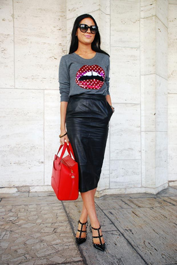Lip Sweater + Leather Midi Skirt + Red Bag + Black Valentino Stud Heels Outfit