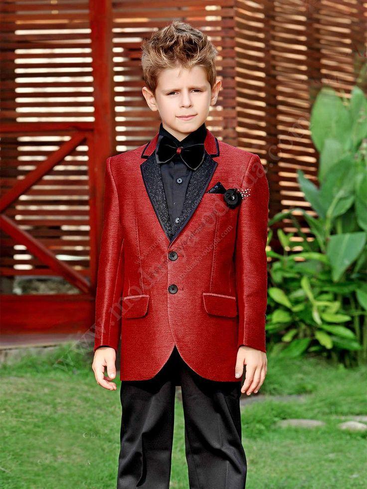 Чёрно-красный костюм-двойка   рубашка с бабочкой для мальчика от 2 до 16 лет