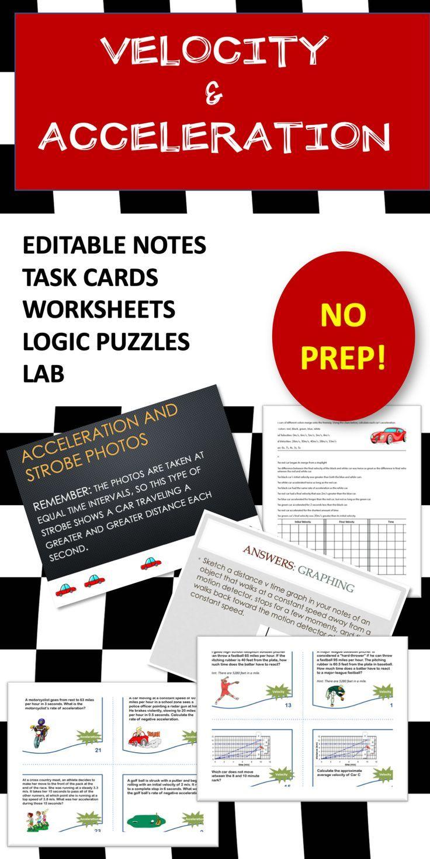 medium resolution of Velocity \u0026 Acceleration Editable PPT Notes