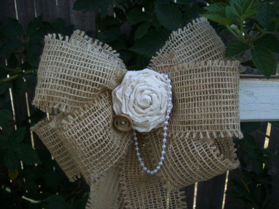 Shabby Chic Pew Bows, Burlap and Muslin Pew Bows, Burlap and Black Wedding, Country Wedding Decor, Rustic Wedding on Etsy, $14.50