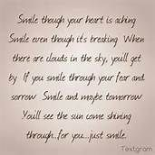 SMILE though your heart is aching, Smile even though it's breaking. When there are clouds in the sky, you'll get by. If you Smile through your fear and sorrow; Smile and maybe tomorrow, you'll see the sun come shining through for you... You'll find out life is still worthwhile ...If you just Smile. ~ Charlie Chaplin