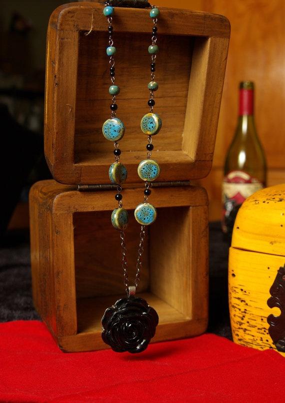 Black Rose Necklace by LaChillona on Etsy, $25.00