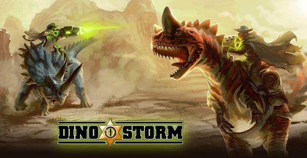 Dino Storm, o jogo 3D multiplayer grátis online. Sele teu dinossauro, carregue sua arma laser e se torne o xerife de dinoville.