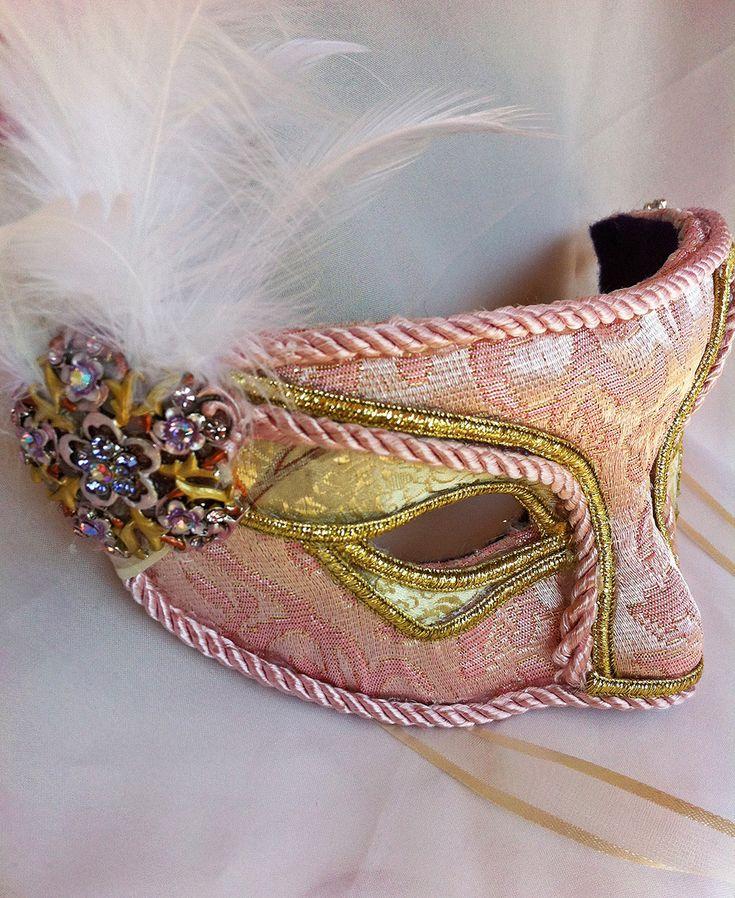 Pink And Gold Brocade Masquerade Mask by DaraGallery.deviantart.com on @deviantART