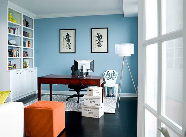 light blue walls in home office | Chicago apartment renovation - home office design with blue walls
