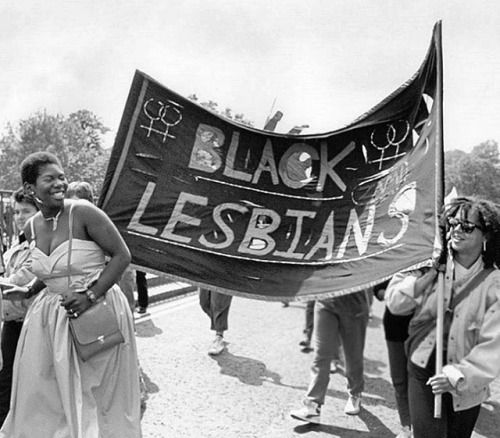 """BLACK LESBIANS,"" Gay Pride Parade, London, United Kingdom, June 1985. Photo © GETTY"