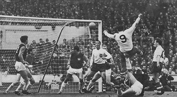 2nd May 1964. Preston North End centre forward Alex Dawson equalising against West Ham United in the FA Cup Final, at Wembley.