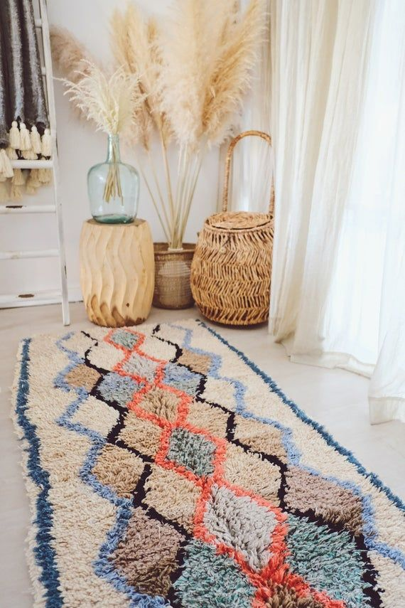 Moroccan Runner Sky Blue Coral Moroccan Azilal Runner Rug Etsy In 2020 Rug Runner Runner Rug Entryway Colorful Rugs