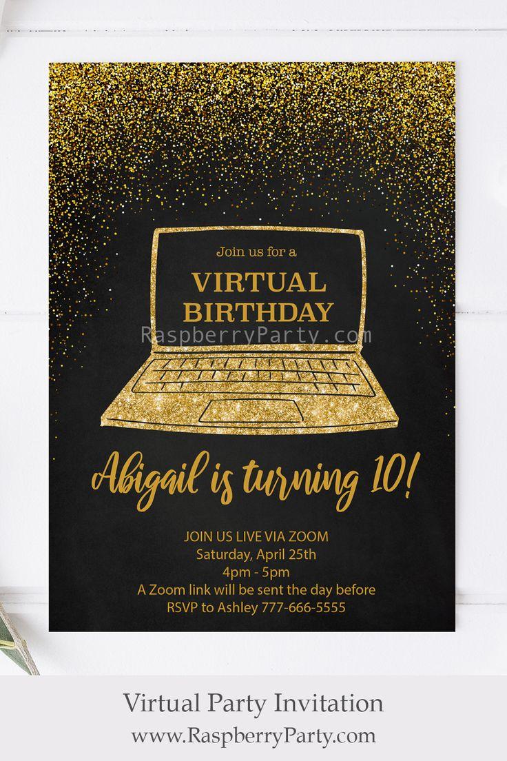Virtual Birthday Invitation in 2020 Birthday invitations