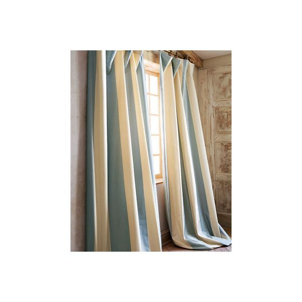 Home Silks Each Hampton Curtain ($225) ❤ liked on Polyvore featuring home, home decor, window treatments, curtains, blue, blue striped curtains, blue panels, striped silk curtains, silk stripe curtains and blue window treatments