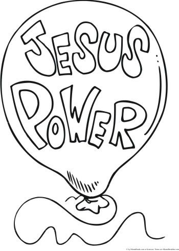 Jesus Power balloon coloring pages Christian Pinterest