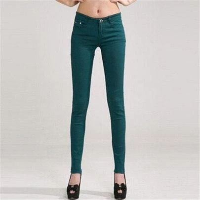 INDJXND Denim Pants 2018 Woman jeans Solid Pencil Women Pants Girls Sweet Candy Color Slim Trousers Femme Pantalon Good Quality