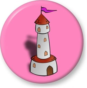 Round tower with flag vector - Button Badge - Brooch - Gift