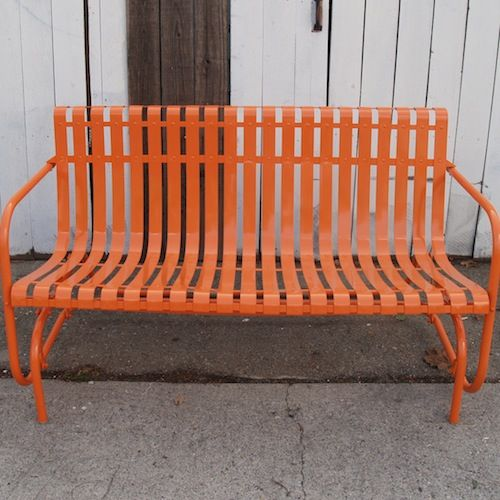 Vintage Orange Strap Glider Patio Porch Pinterest Gliders Metal Lawn Chairs And Lawn
