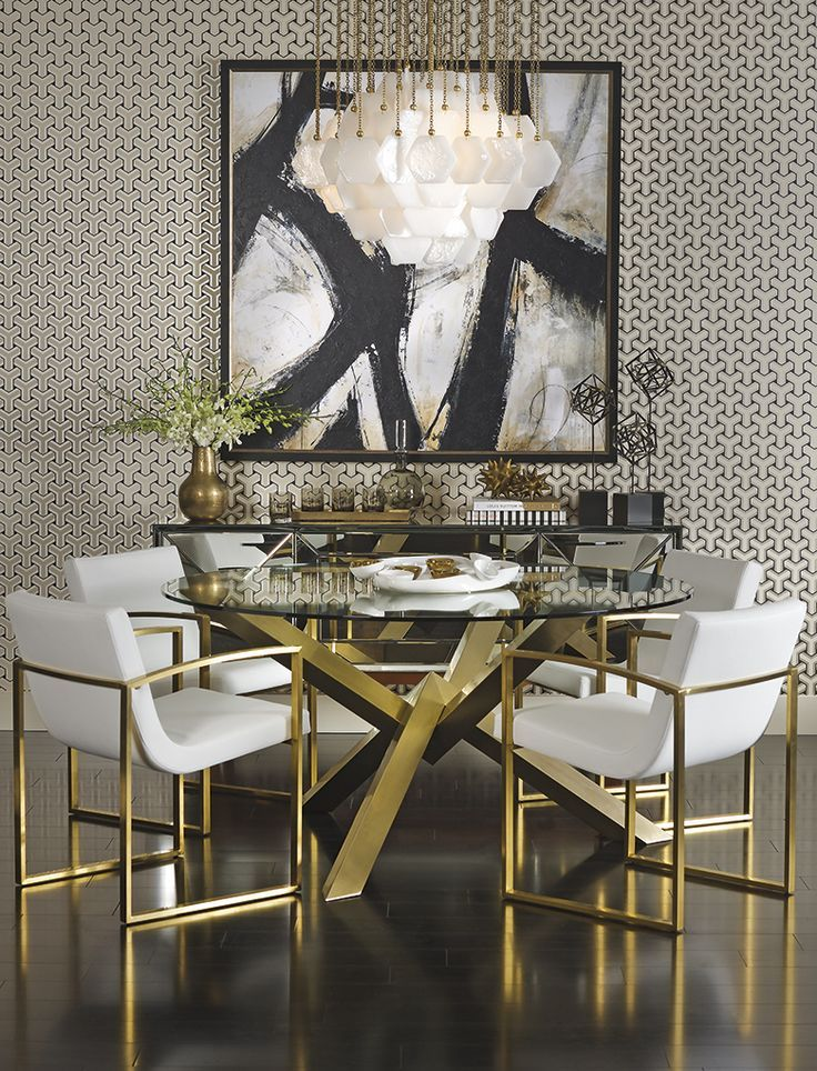 Refined Dining - The sophisticated bold and gold decor features the Costello Dining Table with the gorgeous gold vacuum plated, stainless steel base.