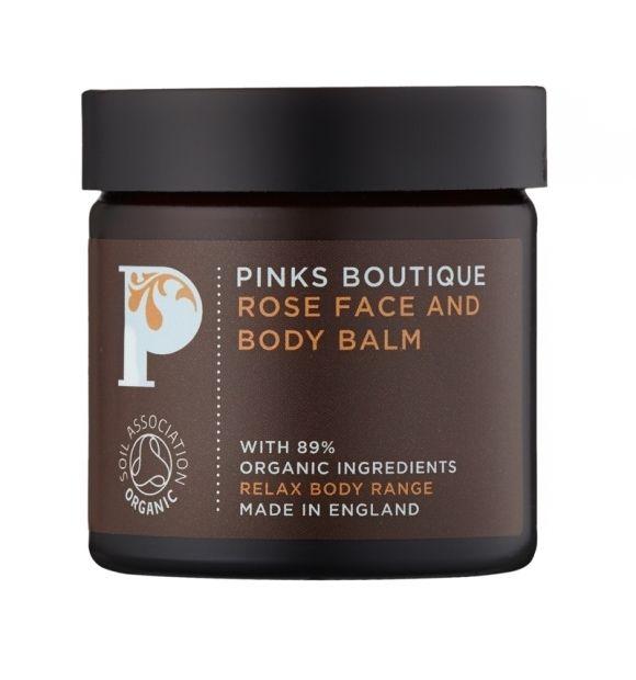 Różany balsam do pielęgnacji twarzy i ciała - Pinks Boutique, 50 g  Dla cery suchej/wrażliwej/dojrzałej Połączenie wyciągu z róży i masła shea głęboko odżywia i koi skórę oraz działa przeciwzapalnie dzięki dużej zawartości witamin A, D i E.