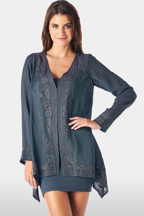 Embroidered 2 in 1 Lidia Set in Charcoal Blue on Emma Stine Limited
