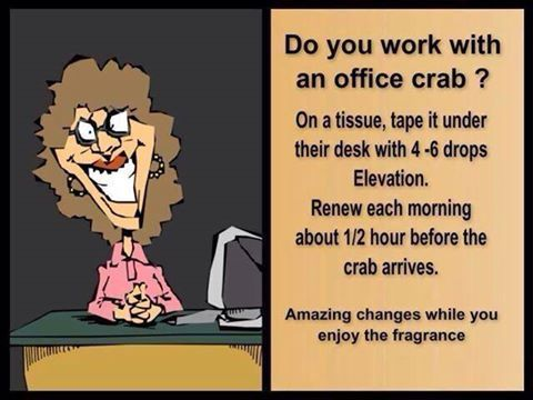 doTERRA Elevation blend to combat the office crab www.onedoterracommunity.com https://www.facebook.com/#!/OneDoterraCommunity