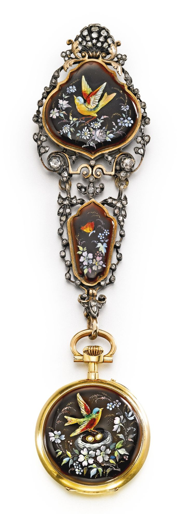 CHARLES OUDIN AN 18K YELLOW GOLD AND ENAMEL OPEN-FACED WATCH WITH CHATELAINE CIRCA 1890 • jeweled gilt cylinder movement, signed gold cuvette • white enamel dial, Roman numerals, outer Arabic minute ring, fine gold hands • case back with brown enamel decorated with flowers and centered by a raised bird in colorful enamel seated on its nest • cuvette signed • with a matching châtelaine set with rose-cut diamonds diameter 31.5 mm